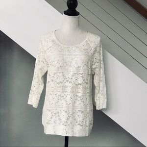 One September/Anthropologie White Lace Top.